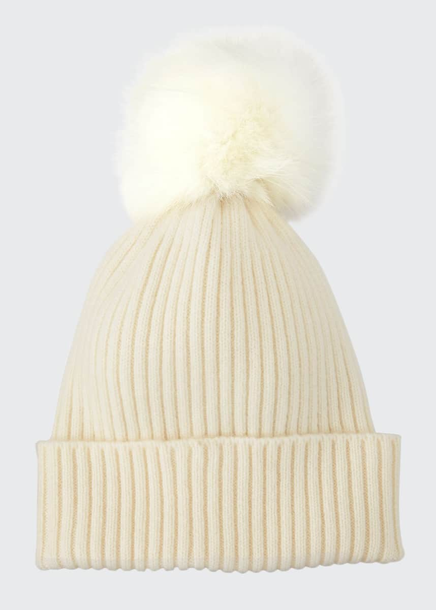 Sofia Cashmere Ribbed Beanie with Fox Fur Pompom