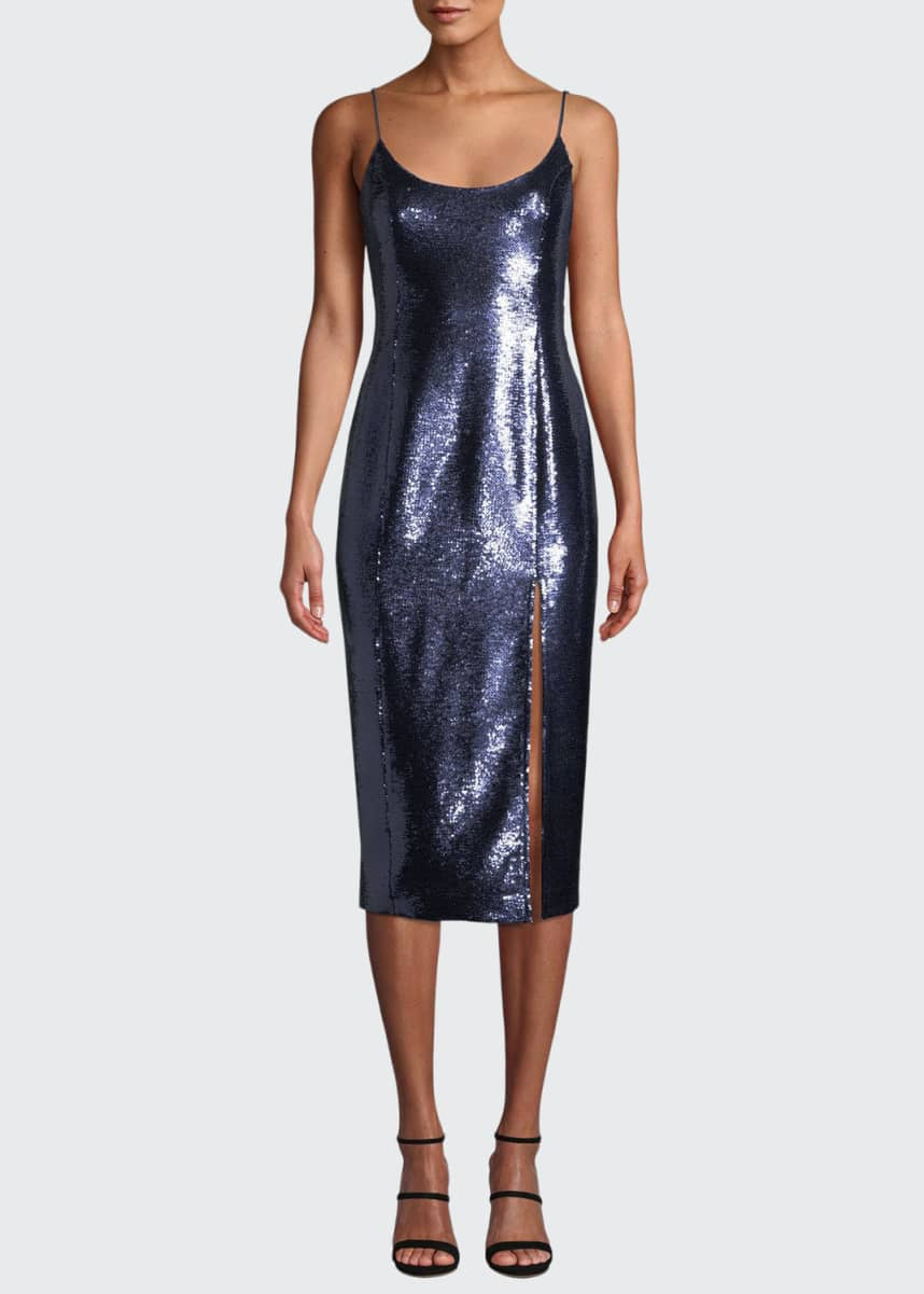 Misha Avery Sleeveless Sequin Slip Cocktail Dress