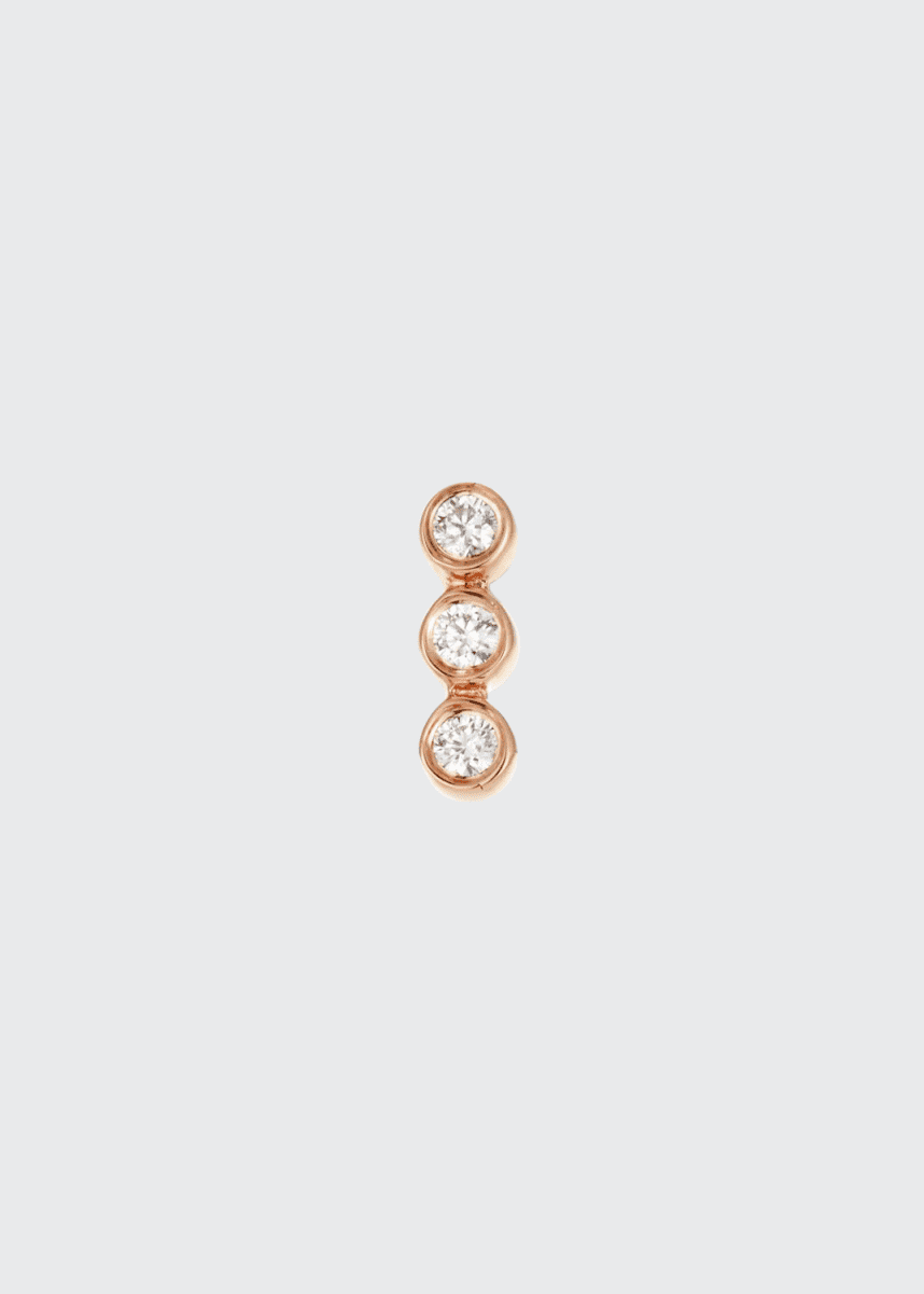 EF Collection 14k Rose Gold Triple Diamond Earring (Single)