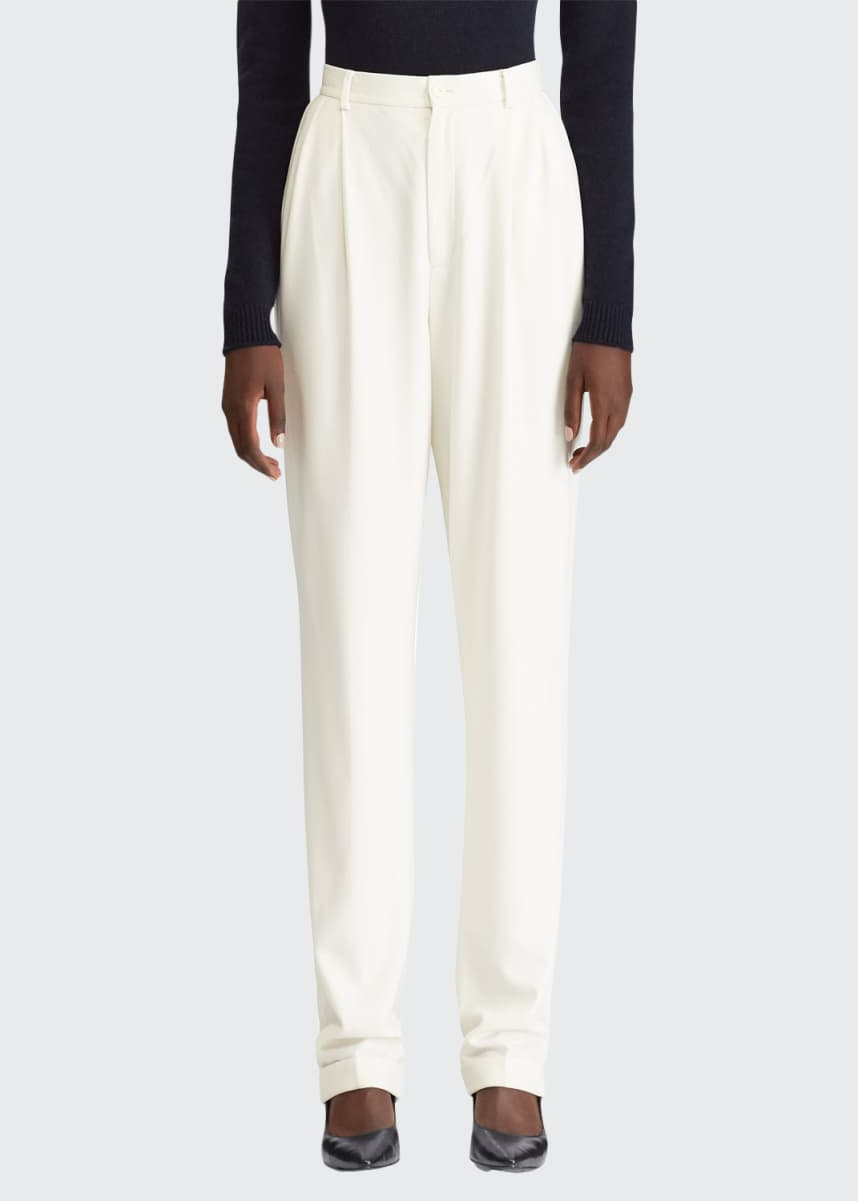 Ralph Lauren Collection Andela Pleated Straight-Leg Pants
