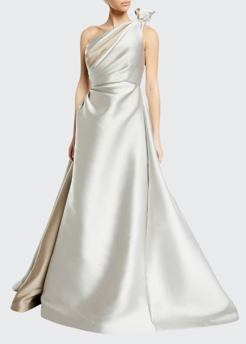 Roland Nivelais Tied One-Shoulder Satin Ball Gown