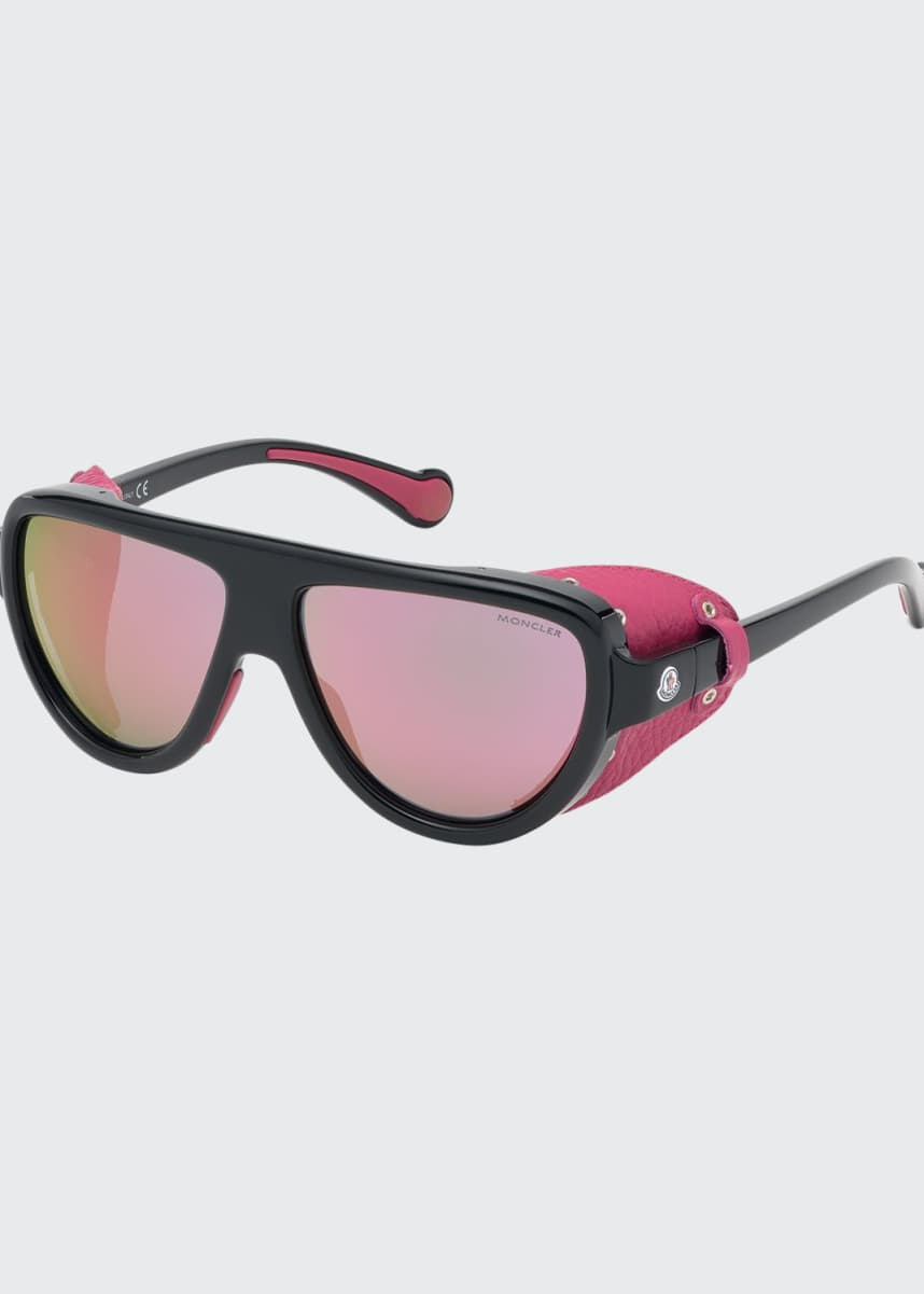 Moncler Mirrored Wrap Sunglasses w/ Leather Side Blinders