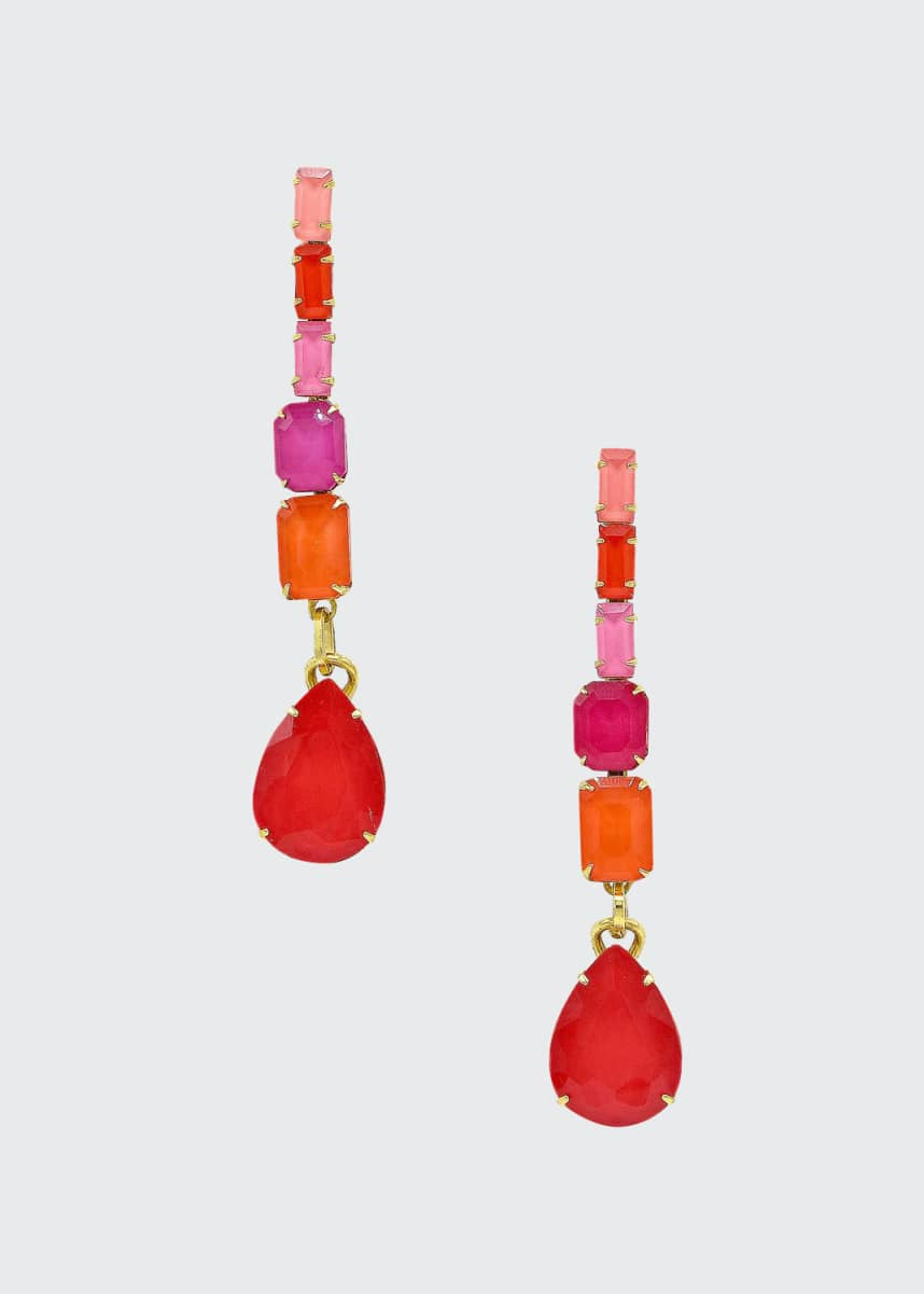 Elizabeth Cole Constance Linear Glass Drop Earrings