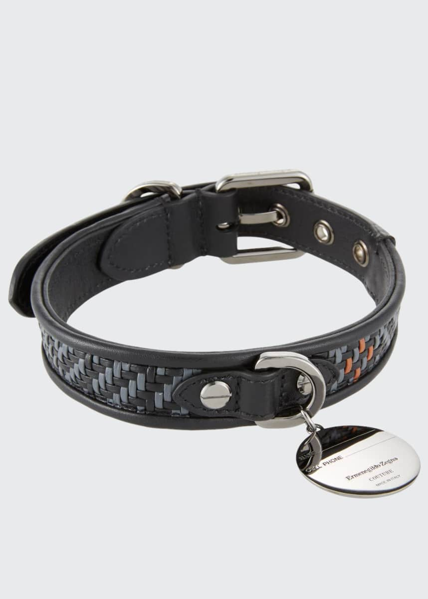 Ermenegildo Zegna Pelle Tessuta Leather Dog Collar