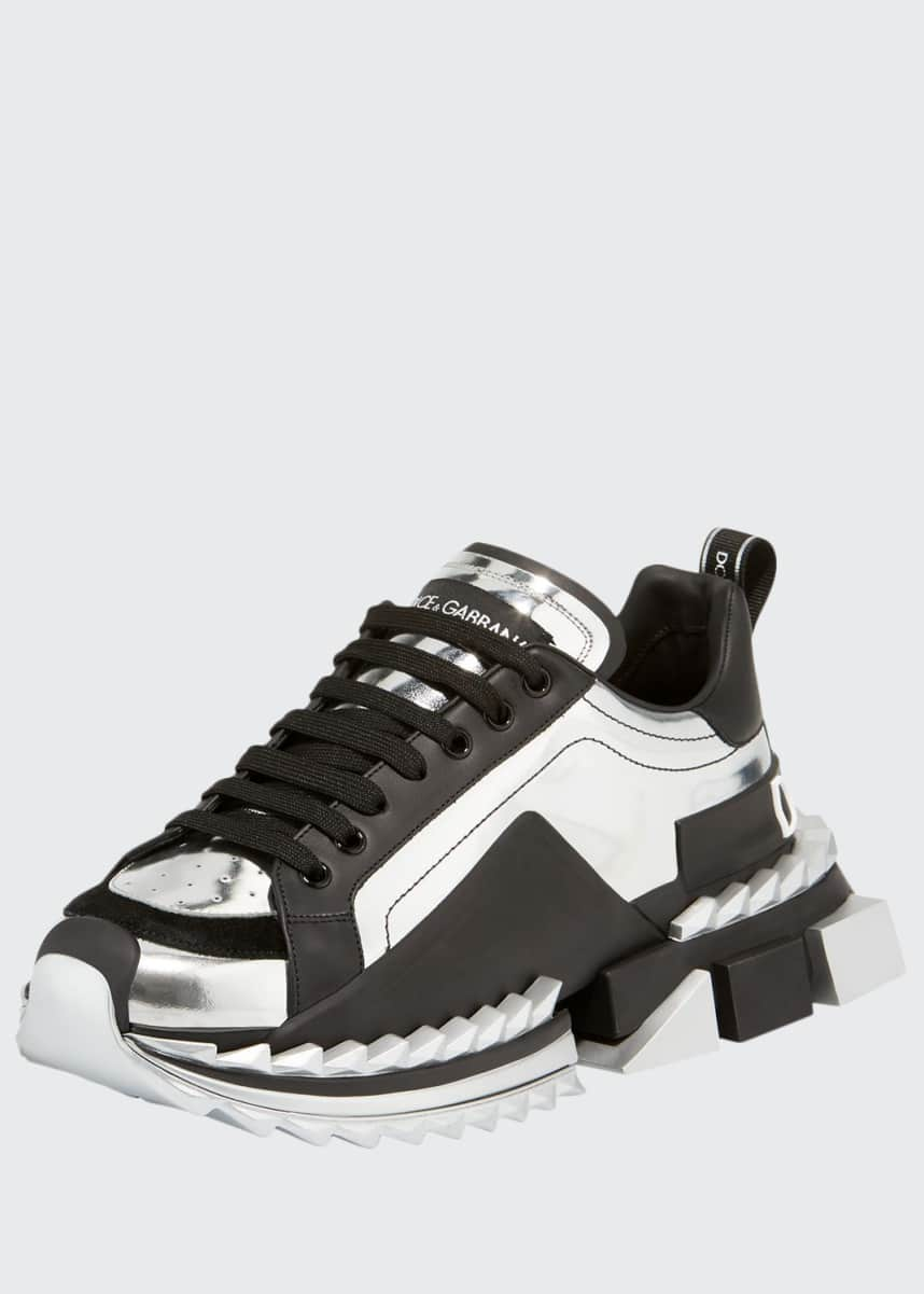 Dolce & Gabbana Men's Super King Metallic Trainer Sneakers