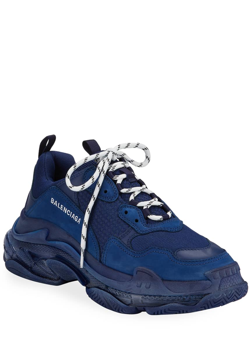 Balenciaga Men's Triple S Clear-Sole Sneakers