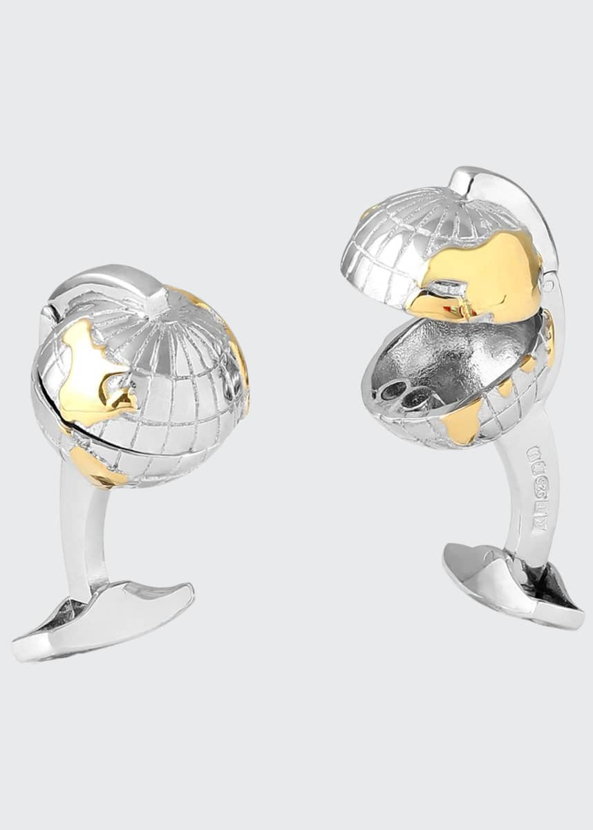Tateossian Hinged Oceanic Globe Cufflinks