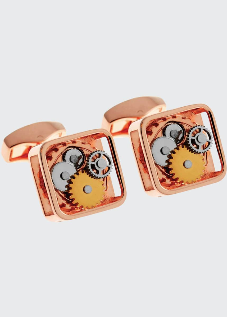 Tateossian Rose-Plated Square Rotating Gear Cuff Links