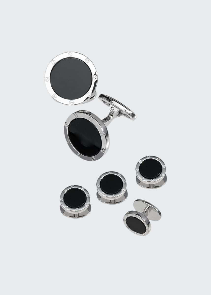 Jan Leslie Round Onyx Cuff Link and Stud Set