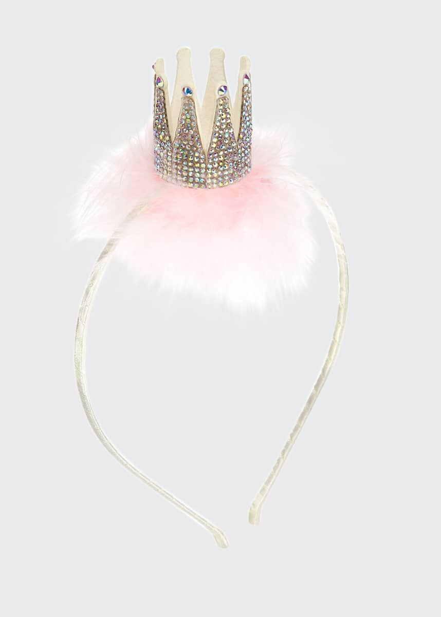 Bari Lynn Girls' 3D Crystal Crown Headband w/ Feather Trim