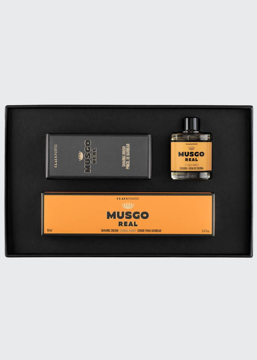 Musgo Real Orange Amber Mini Cologne, Shaving Cream and Brush Set