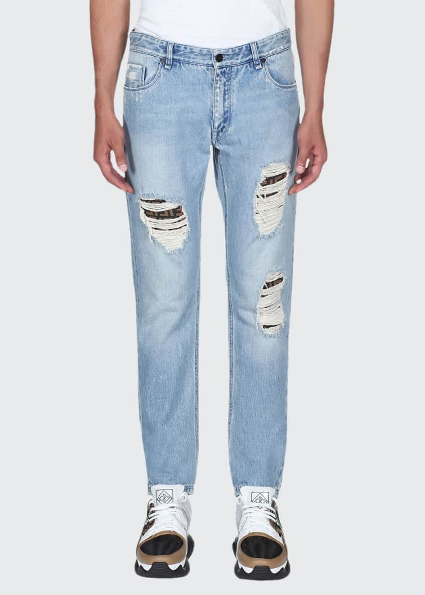 Fendi Men's Distress Logo-Patch Jeans