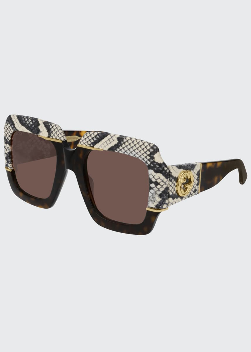 Gucci Chunky Square Snakeskin Printed Acetate Sunglasses