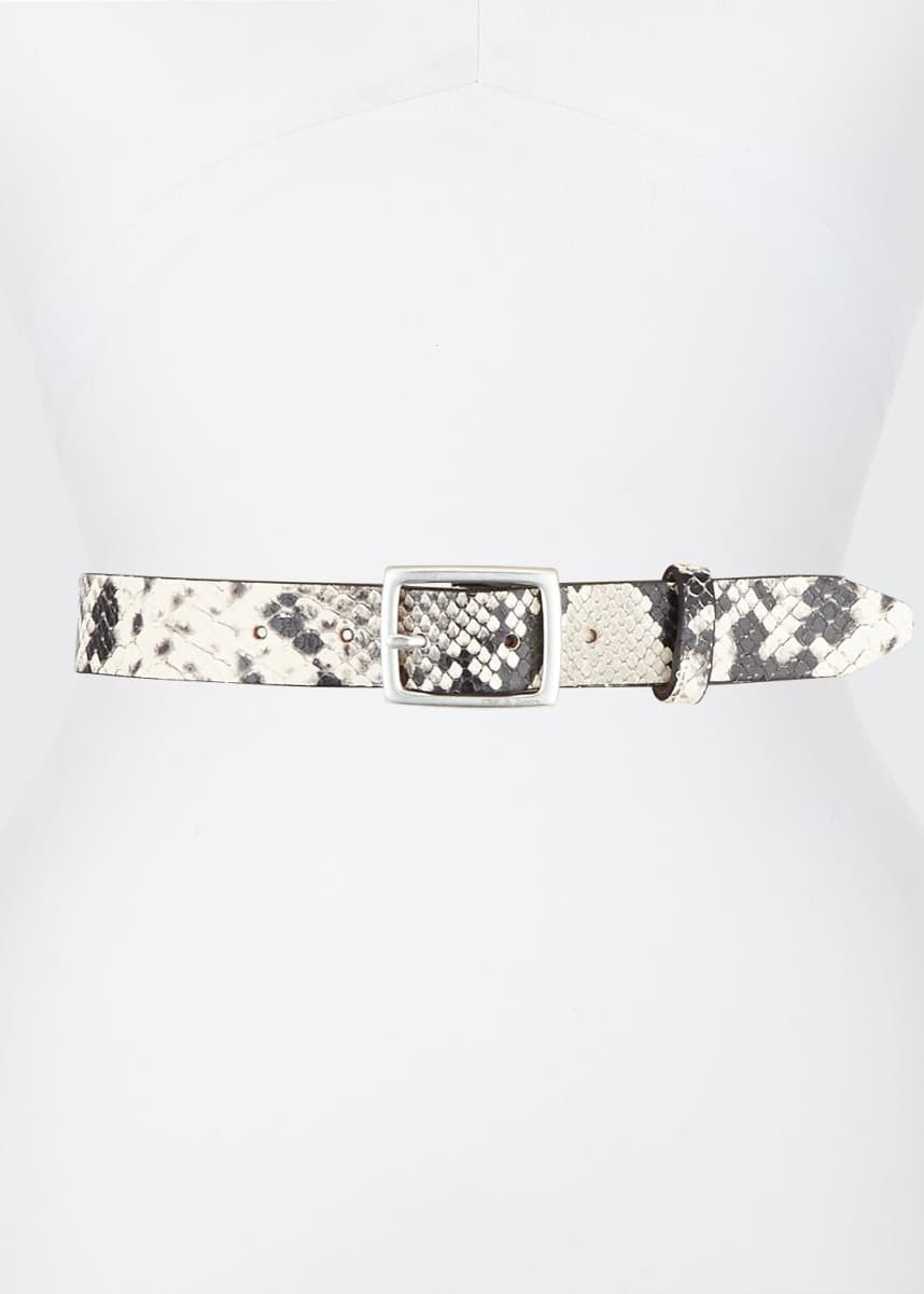 Rag & Bone Boyfriend Snake-Print Leather Belt
