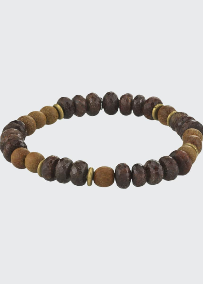 Mr. Lowe Men's Coffee Quartz & Sandalwood Bracelet, Size M