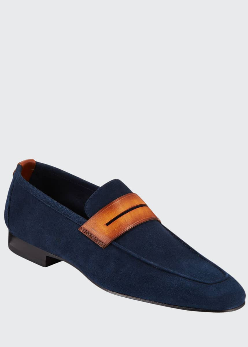 Corthay Men's Soft Suede Penny Loafers