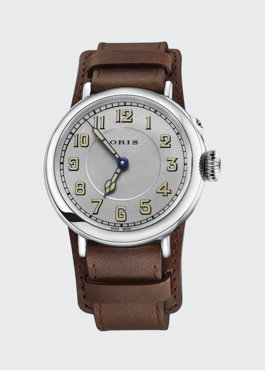 Oris Men's 40mm Big Crown Watch w/ Leather Strap
