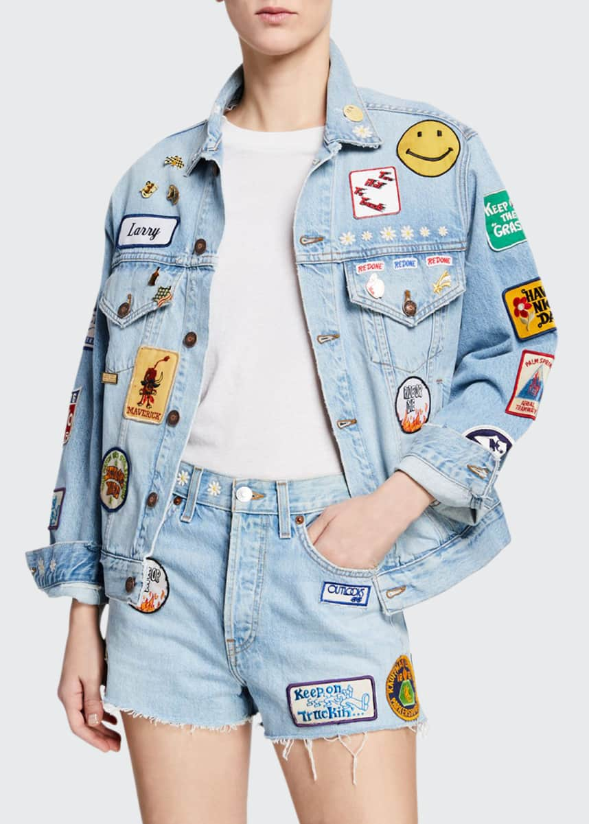 RE/DONE Embellished Distressed Denim Jacket