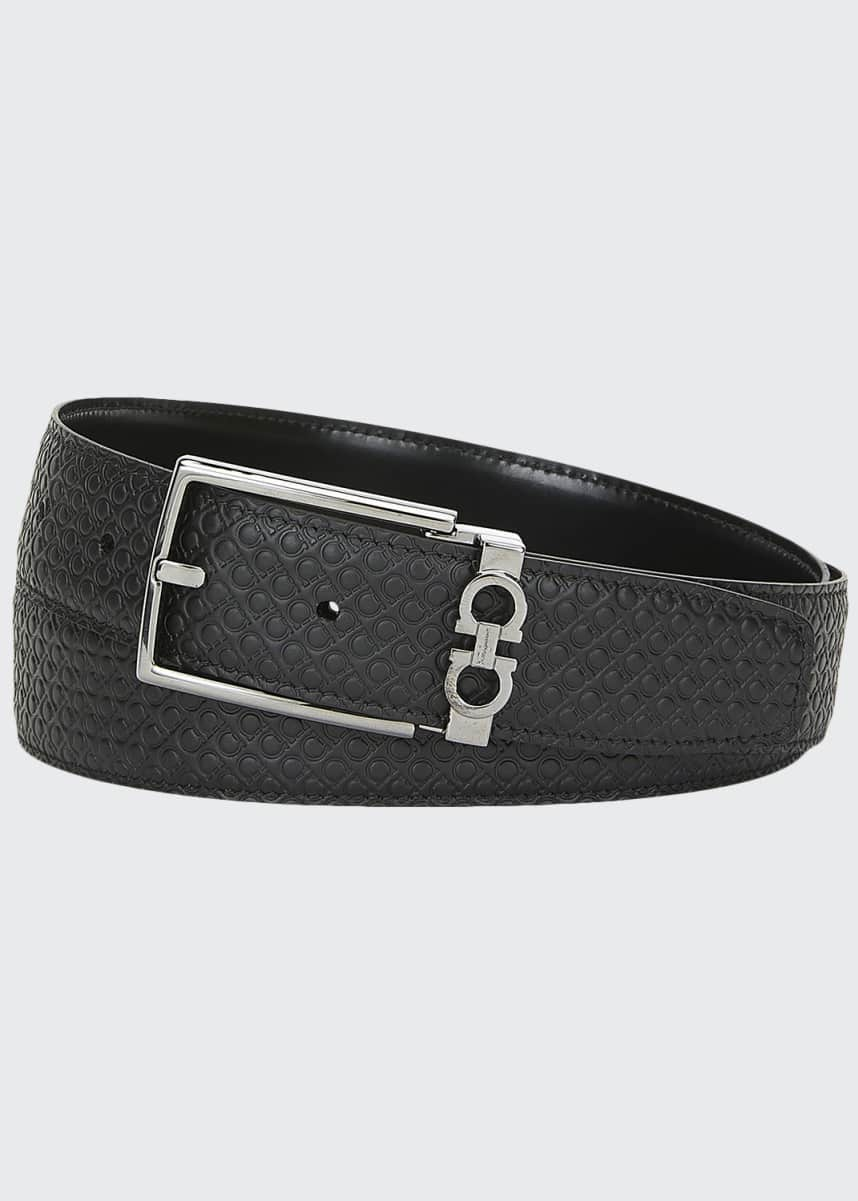 Salvatore Ferragamo Men's Gancini-Embossed Leather Belt
