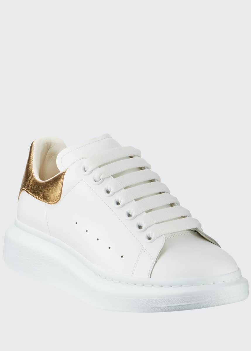 Alexander McQueen Men's Leather Platform Sneakers with Metallic Back