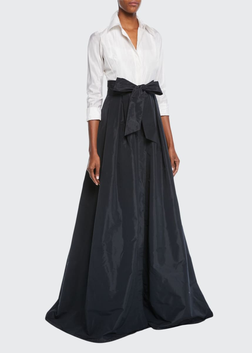 Rickie Freeman for Teri Jon Two-Tone 3/4-Sleeve Taffeta Shirtdress Gown