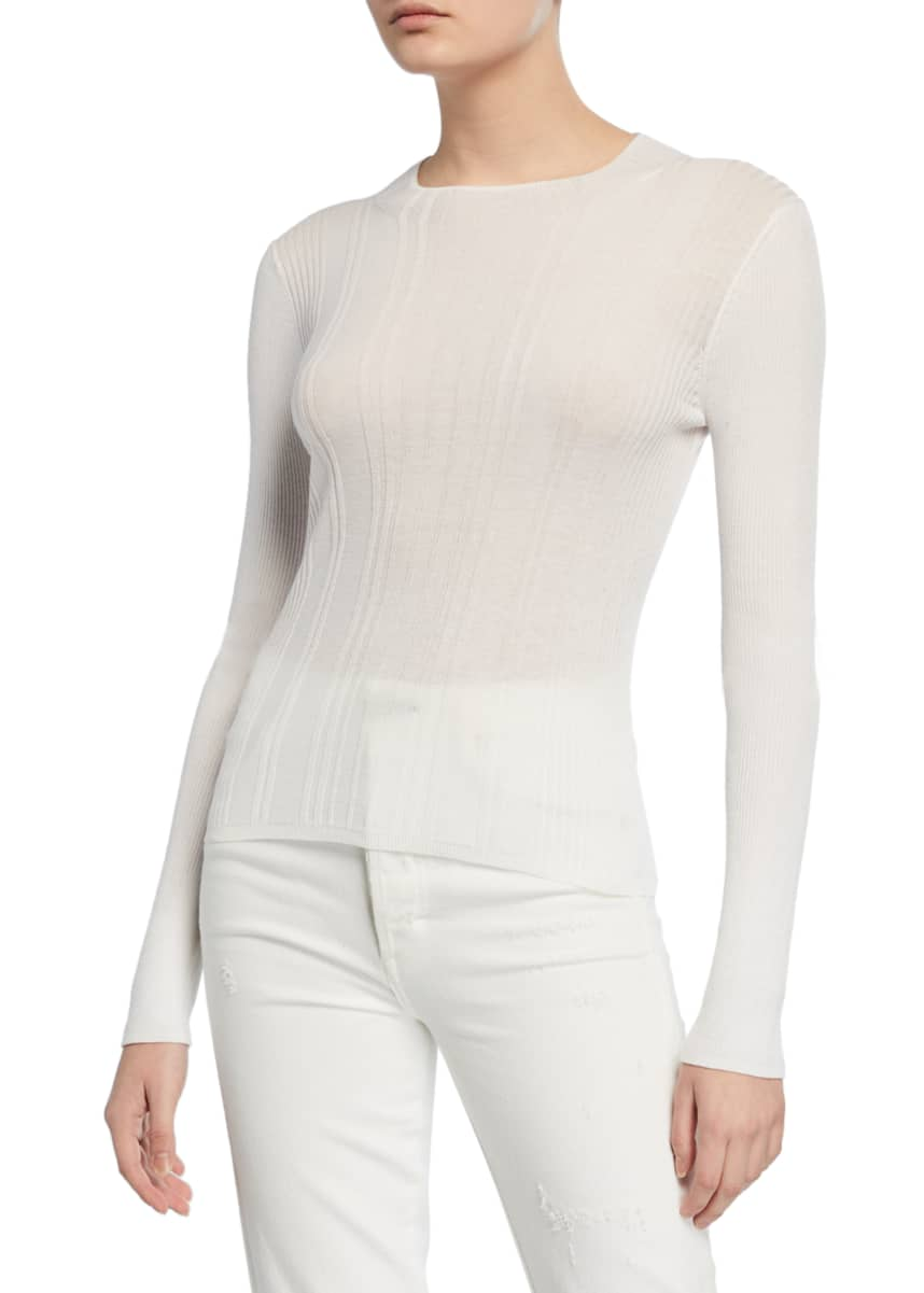 Vince Crewneck Long-Sleeve Variegated Rib Top