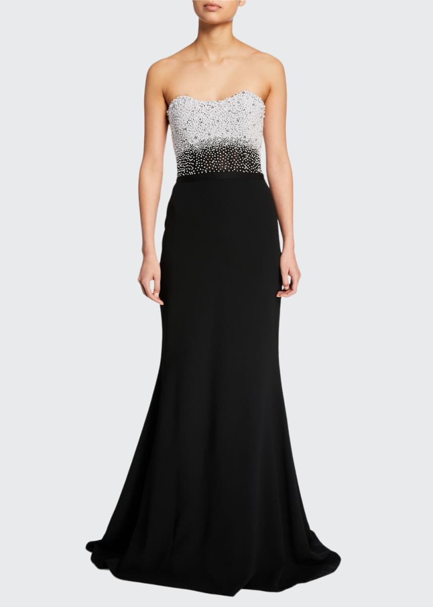 Pamella Roland Embroidered Bustier Trumpet Gown