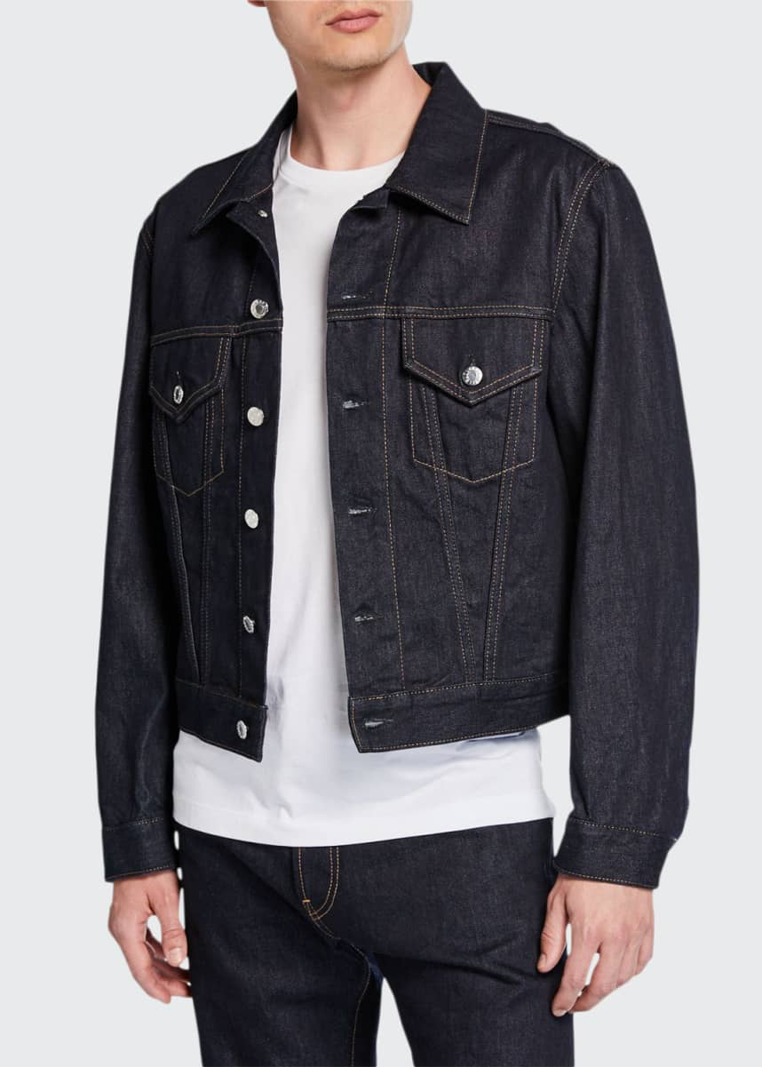 Helmut Lang Men's Accelerated Raw Masc Denim Trucker Jacket