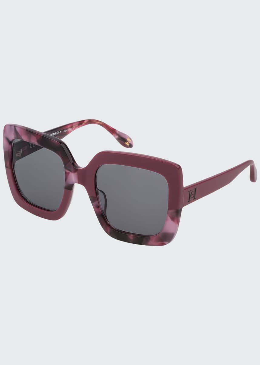 Carolina Herrera Square Two-Tone Acetate Sunglasses