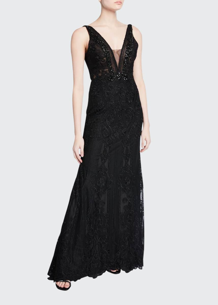 Badgley Mischka Couture Depp-V Back Embroidered Gown