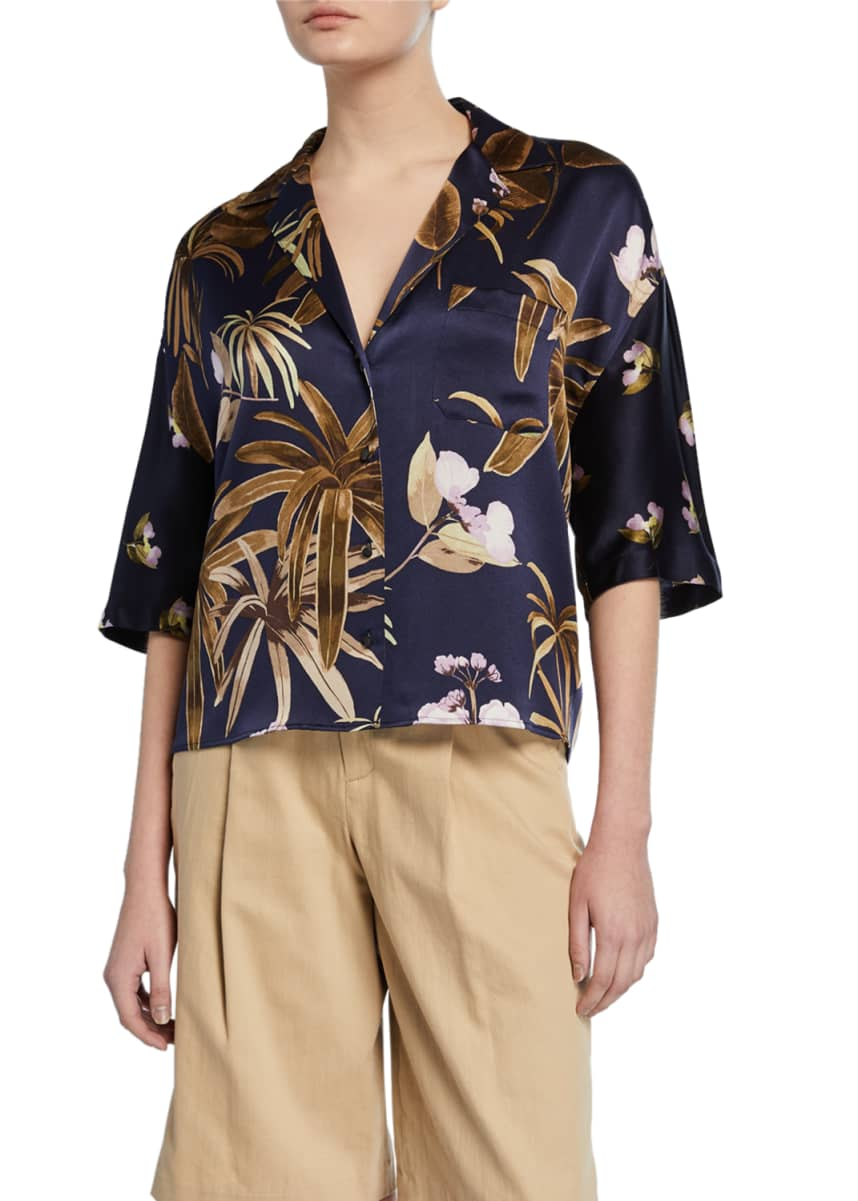 Vince Mixed Tropical Garden Button-Front Satin PJ Shirt