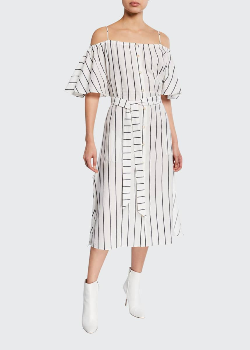 palmer//harding Tulum Striped Cold-Shoulder Midi Dress
