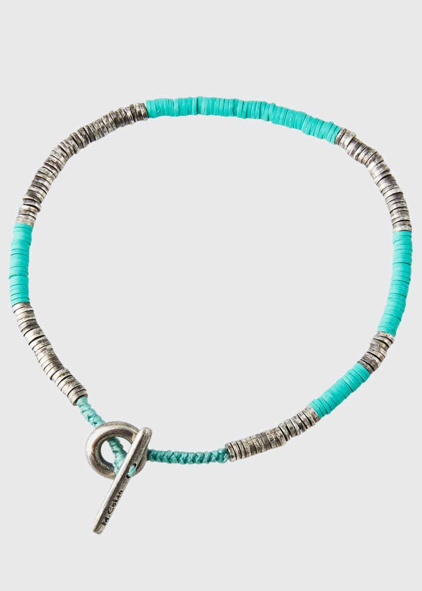 M. Cohen Men's Round Table Stacked Disc Bracelet, Turquoise
