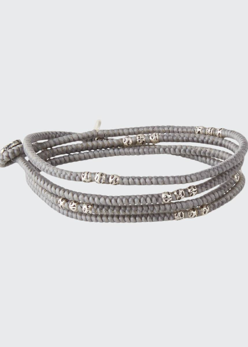 M. Cohen Men's Knotted Wrap Bracelet with Silver Beads, Gray