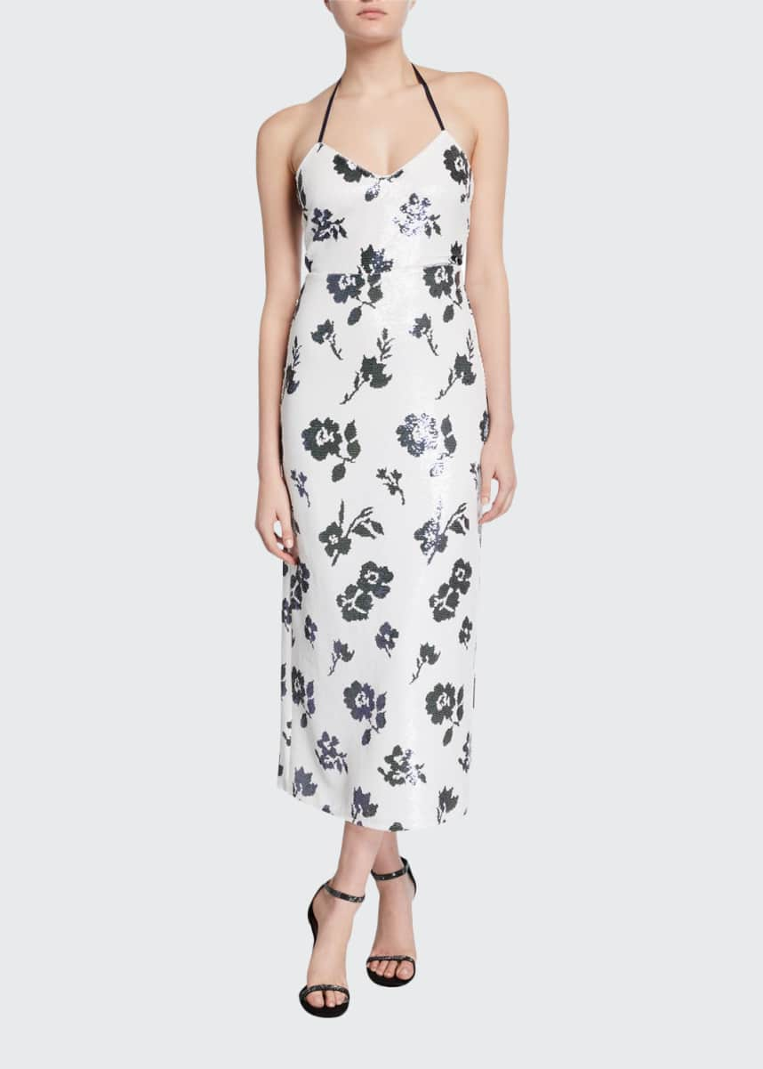 Self-Portrait Sleeveless Floral Sequined Midi Dress
