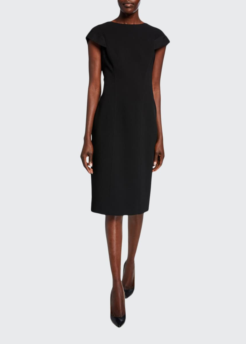 Atelier Caito for Herve Pierre Cap-Sleeve Sheath Cocktail Dress