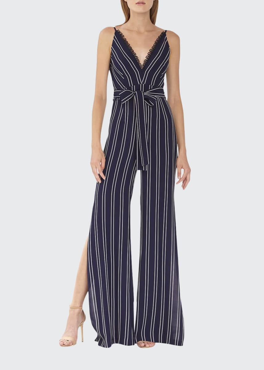 ML Monique Lhuillier Striped Sleeveless Jumpsuit with Side Slits