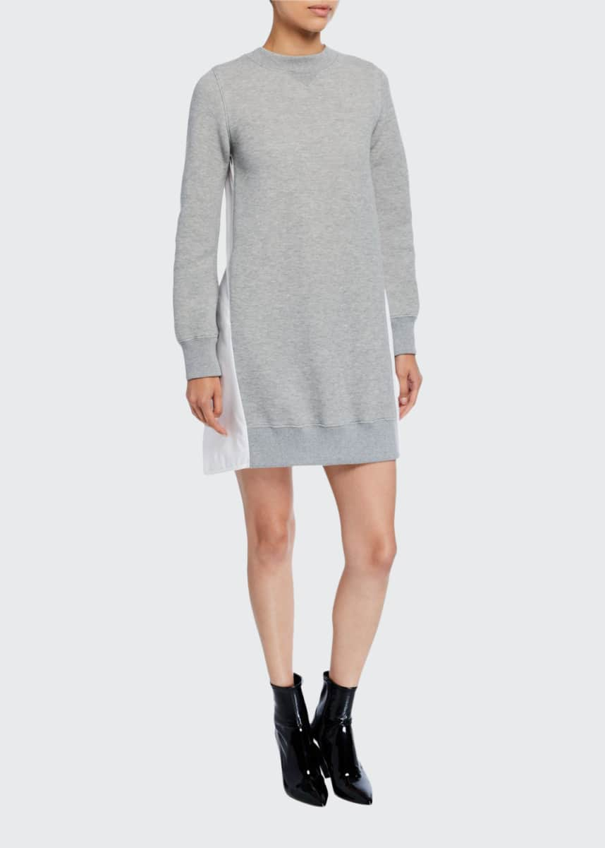 SACAI Sweater Dress w/ Poplin Back