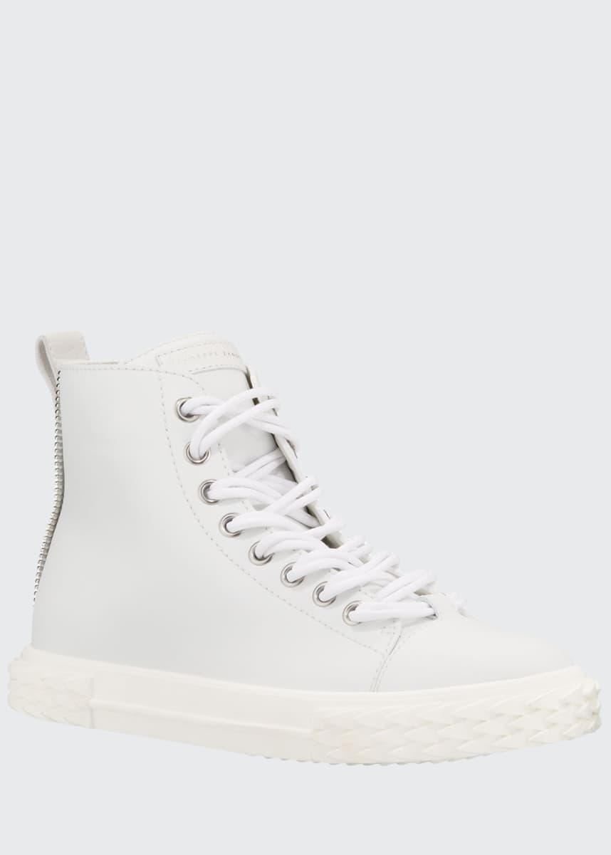 Giuseppe Zanotti Men's Blabber High-Top Leather Sneakers, White