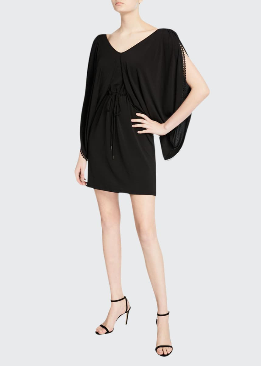 See by Chloe Draped-Sleeve Jersey Short Dress