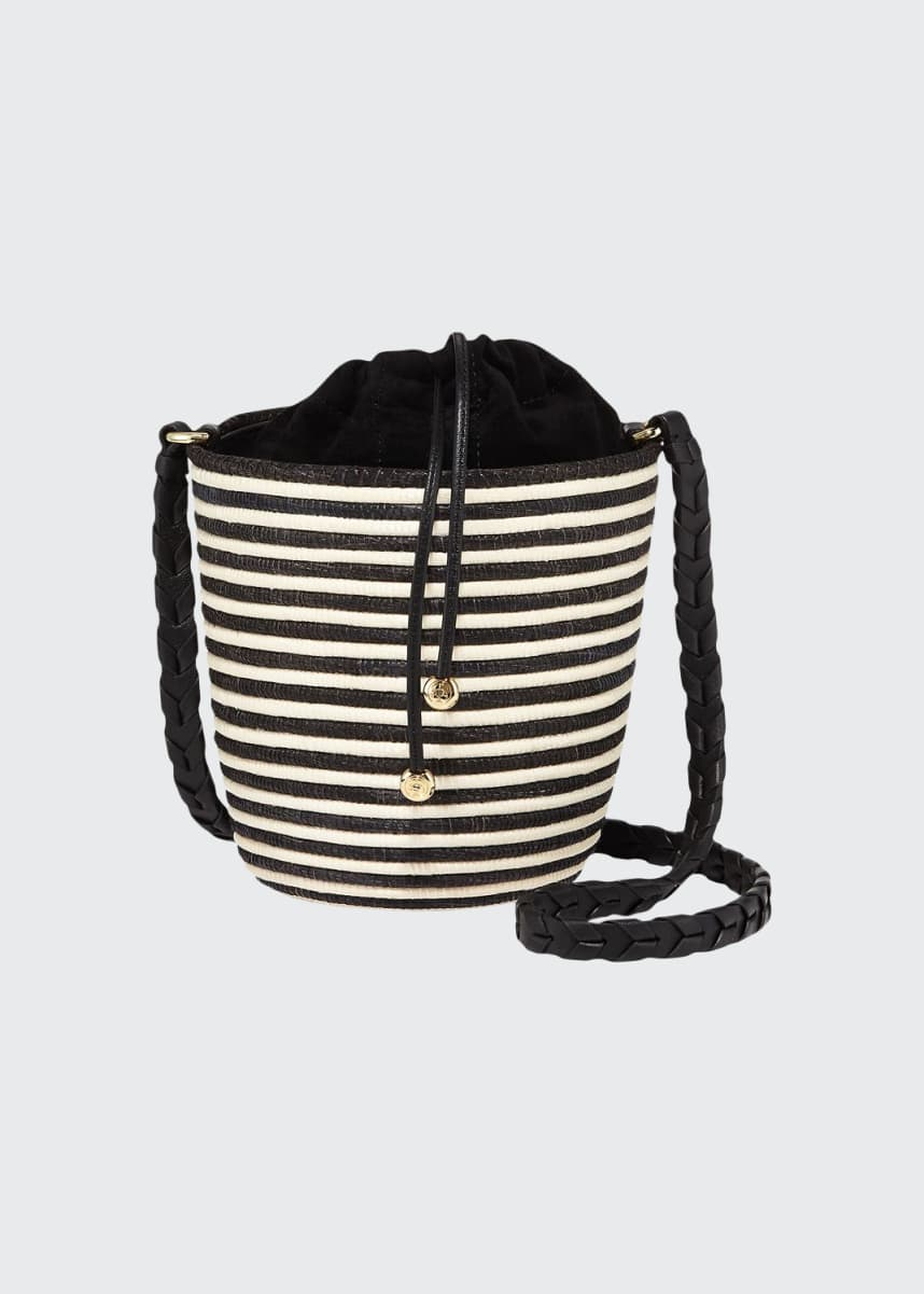 Cesta Collective Striped Woven Lunchpail Crossbody Bucket Bag