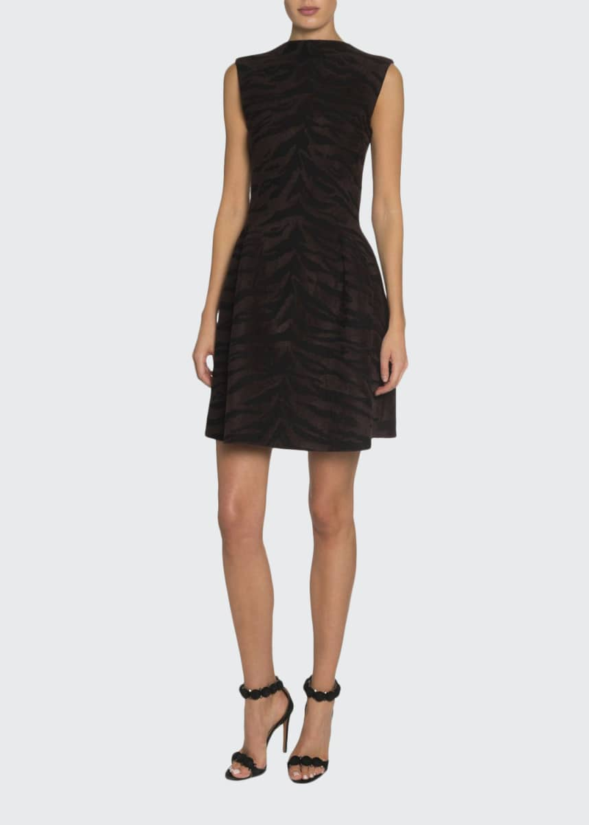 ALAIA Tiger-Striped Velvet Mini Dress