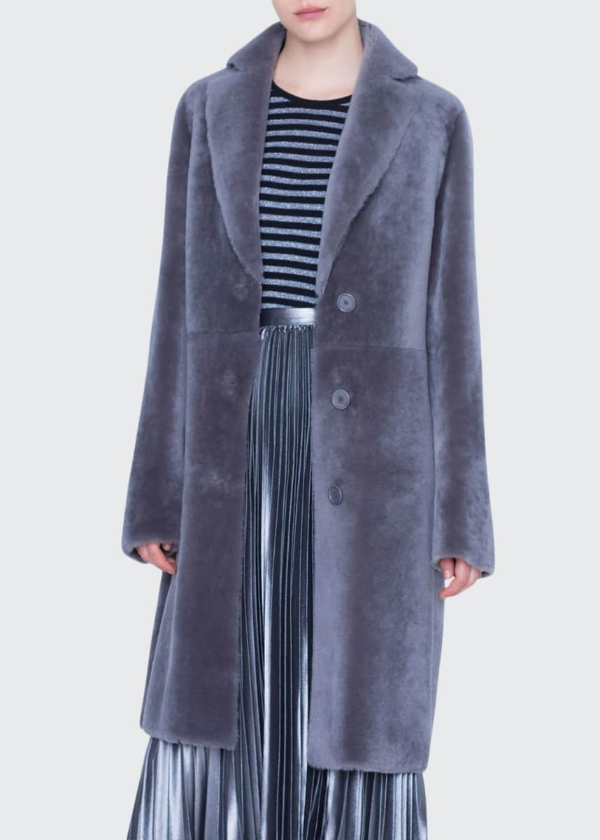 Akris punto Lamb Fur Lapel Coat