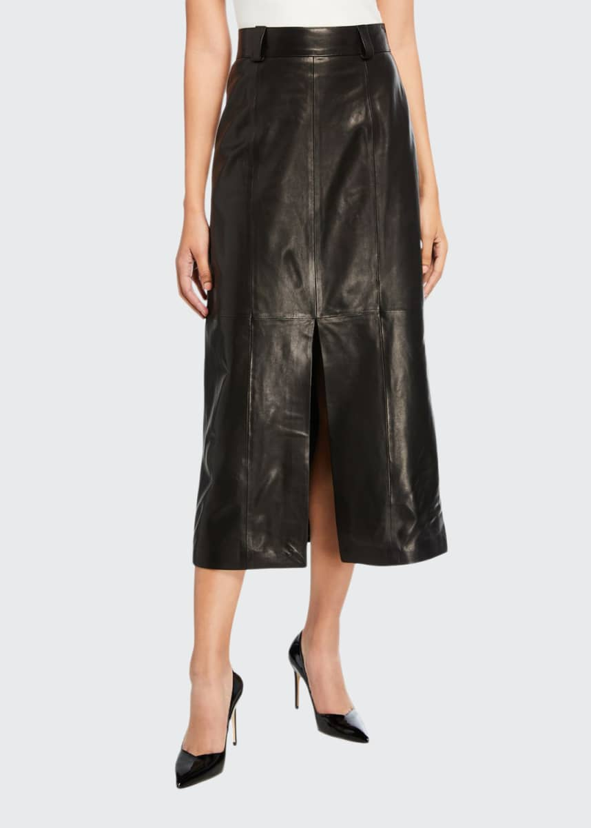 Carmen March Leather Slit-Front Skirt