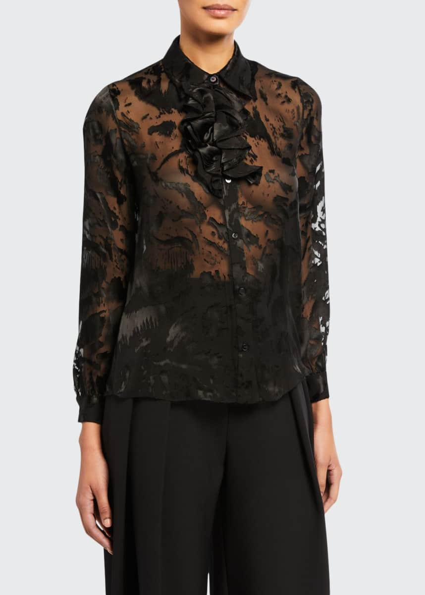 Carmen March Devore Long-Sleeve Ruffle Blouse