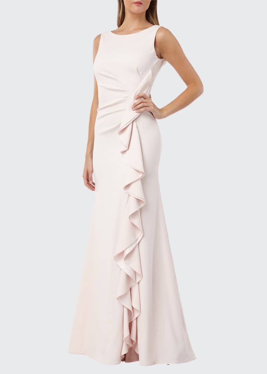 Carmen Marc Valvo Infusion Bateau-Neck Sleeveless Gown w/ Side-Ruching & Draped Ruffle Detail