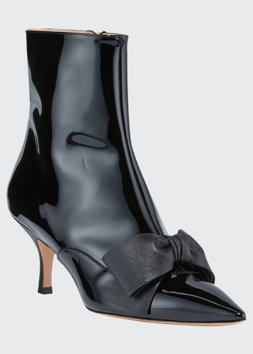 Rochas Patent Pointed-Toe Bow Booties