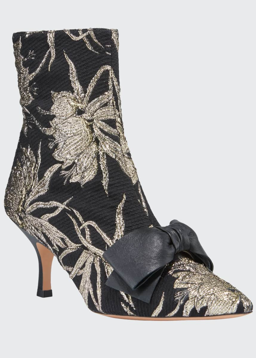 Rochas Metallic Pointed-Toe Bow Booties