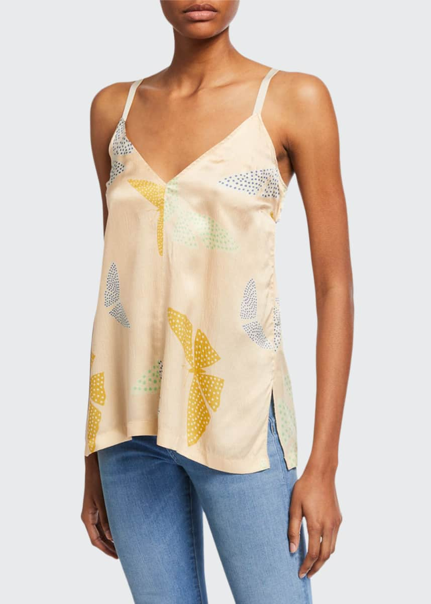 Forte Forte Butterfly-Print Satin Tank