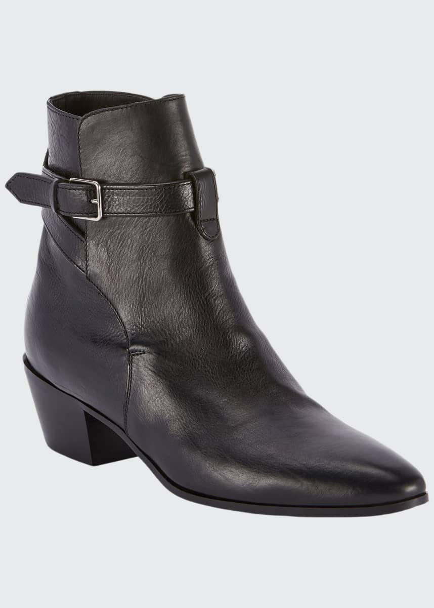 Saint Laurent West Jodhpur Leather Booties